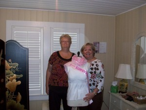 Our First Camisole Recipient, Paula Delaney (left), with Jeri Millard (right), Founder of In the Pink