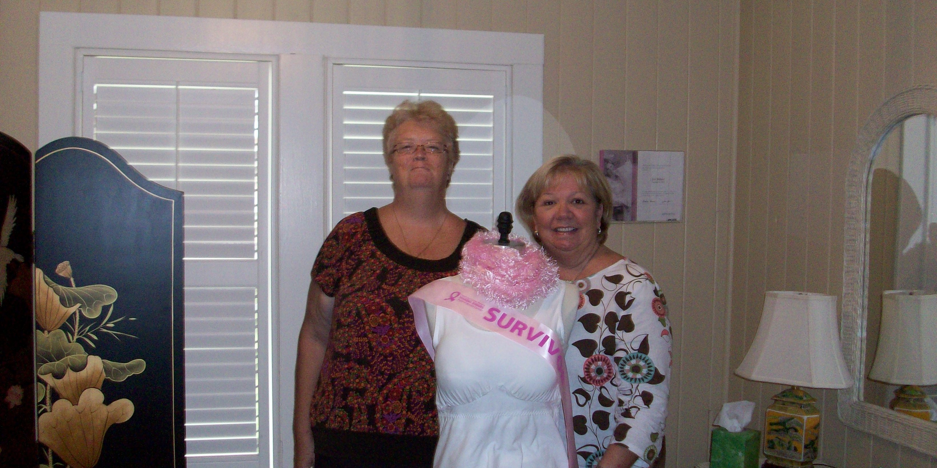 We were so proud to present Paula Delaney of St. Augustine, Florida, with our first free camisole on July 25, 2009.  Paula was preparing herself for surgery on July 29, 2009.  We are happy to say she is recovered and doing well.  Congratulations, Paula!